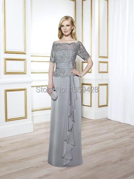 Gray long evening dress
