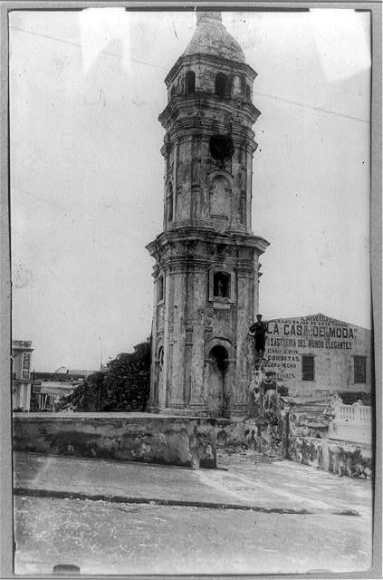 [U.S. Naval occupation of Vera Cruz, Mexico: Tower at Vera Cruz damaged by shells from U.S.S. CHESTER - Mexican War]