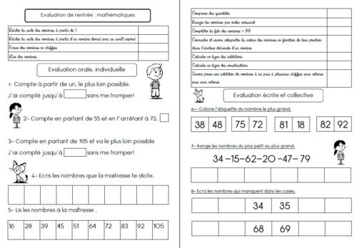 Evaluations Période 1 Maths CE1