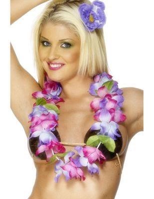 Large Rainbow Flower Hawaiian Hula Flower Neck Leis Flower Garland Fancy Dress