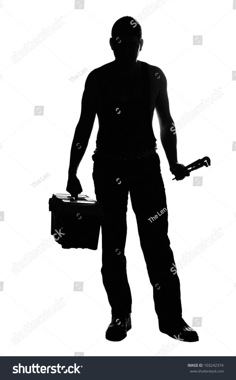 Mechanic Silhouette With Tools Isolated On The White ...