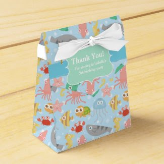 Cute, Colourful Underwater Animals Pattern Favor Boxes