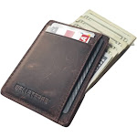 Walleteras RFID Front Pocket Wallet and Card Holder with ID Window - Dec Coffee - Crazy Horse Leather / S