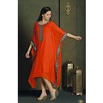 Party Wear Orange Kaftan Style Long Kurti Rent / Large / Orange