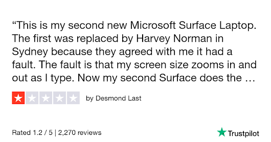Desmond Last gave Microsoft 1 star. Check out the full review...
