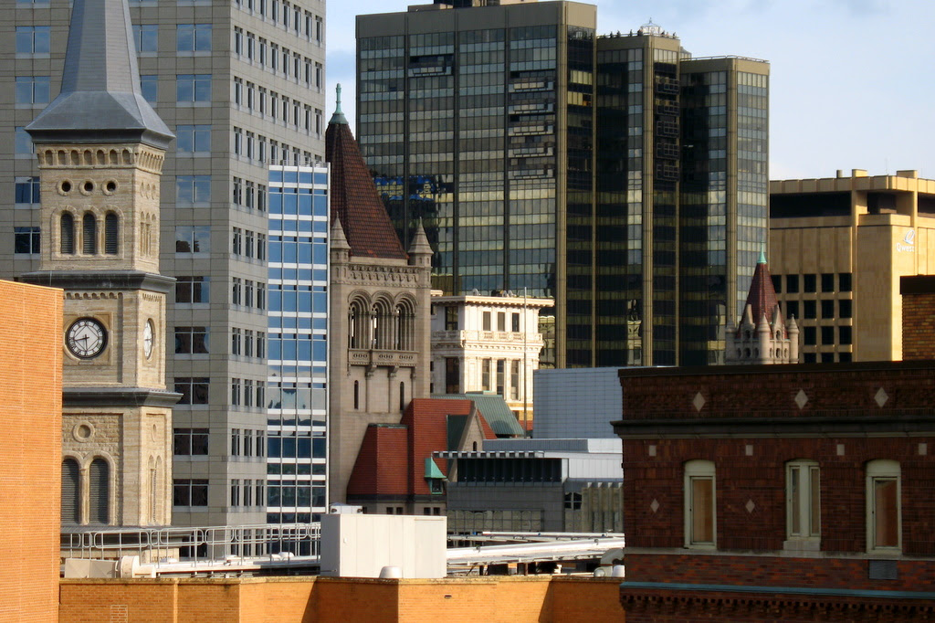 I found this fantastic view of the rooftops in downtown St Paul last week while walking around during the RNC 2008.