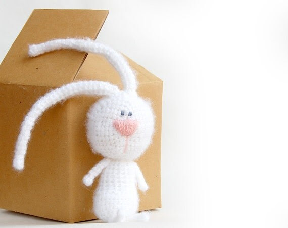 White rabbit crochet toy bunny natural eco toy for children woodland creatures Easter bunny
