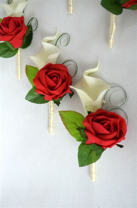 calla lilies  rose wedding buttonholes red ivory