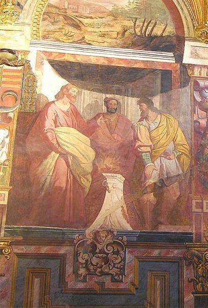 Fresco barroco de los Santos Fausto, Jenaro (Januario) y Marcial, obra de Cesare Arbasia. Mezquita Catedral de Córdoba, España.