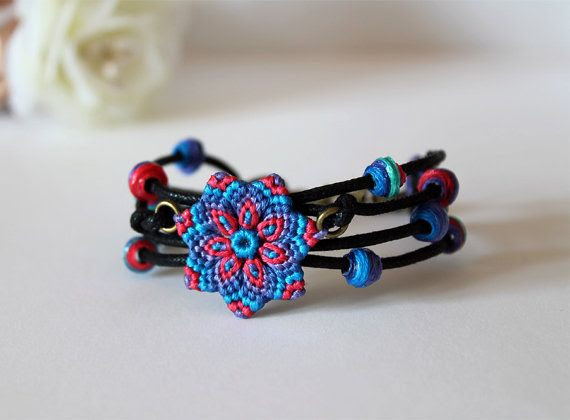 Macrame mandala flower bracelet with beads boho blue coral red violet on Etsy, $17.72