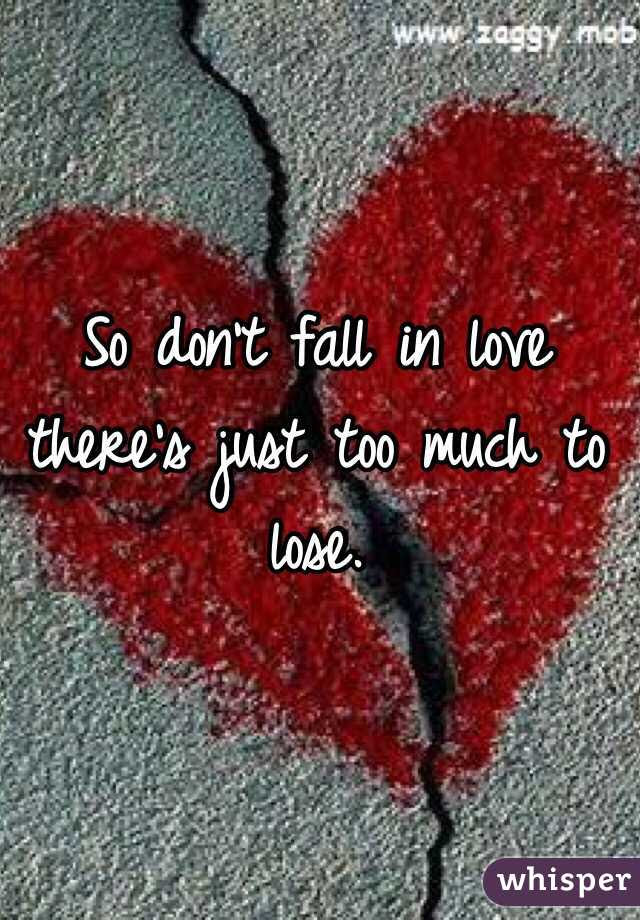 So Dont Fall In Love Theres Just Too Much To Lose