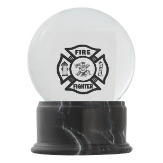 Firefighter Maltese Snow Globes