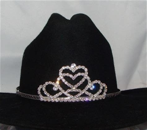 "Jr. ""Miss Hearts"" Rhinestone Cowboy hat tiara USA made"