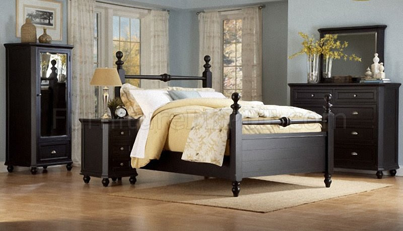 Black Casual Cottage Style Bedroom w/Optional Casegoods