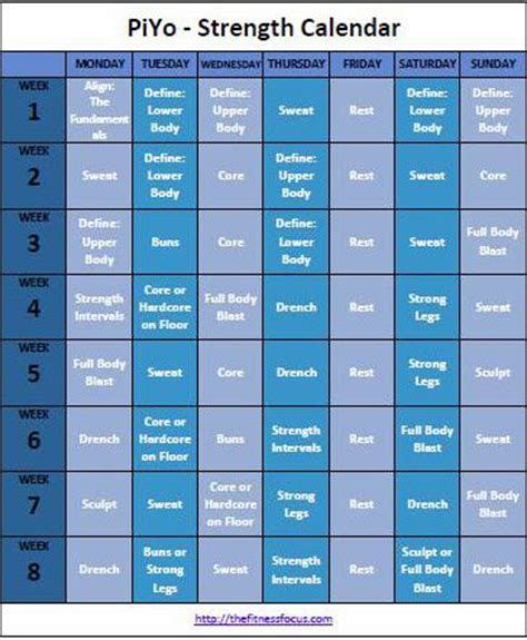 piyo workout calendar basic  strength schedule