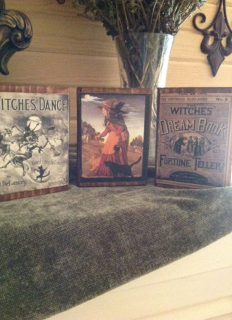 Set of 3 Primitive Halloween Wood Blocks featuring by VintageHare