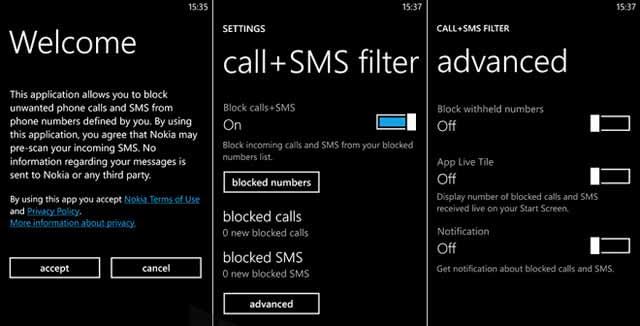 Nokia extra-e-info blocco chiamate e sms contatti o numeri