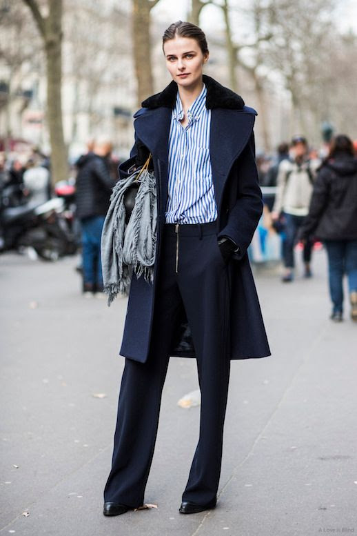 Le Fashion Blog 25 Ways To Wear A Striped Button Down Shirt Black Coat Pants Via A Love Is Blind Fur Collar Street Style