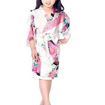 Floral Bride and Bridesmaid Robes, Blue-White, 2T-38 Womens Plus, Satin, MidLength, White / Girls 14 (Ages 11-13) from Gifts Are Blue