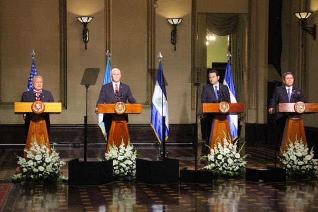 The presidents of El Salvador, Guatemala and Honduras and the vice president of the United States gave a press conference after a Jun. 28 meeting in Guatemala City on the issue of migration by undocumented Central Americans to the U.S.. Credit: Presidency of El Salvador