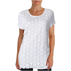Inc Womens Daisy Embellished Crochet Trim T-Shirt White