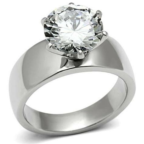 Stainless Steel Round Solitaire Engagement Ring Wide Band