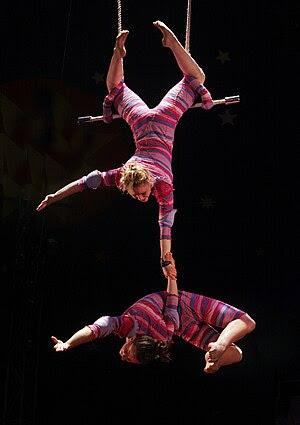 Trapeze artists Kia and Lindsay at Circus Smirkus