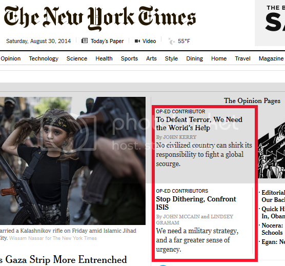 NYT op-ed headlines, pro-war from 'both sides' -- Kerry and McCain/Graham