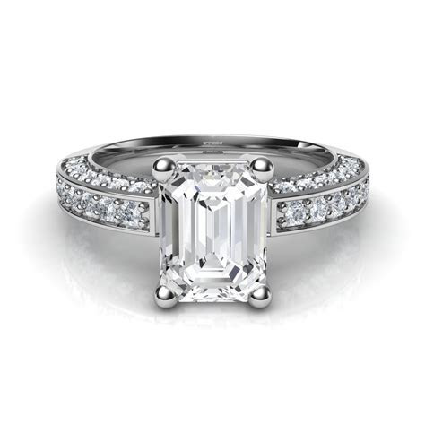 3 Sided Pave Emerald Cut Diamond Engagement Ring Natalie