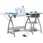 Sew Ready STDN-38018 Venus Sewing Machine Craft Table Computer Desk, Silver by VM Express