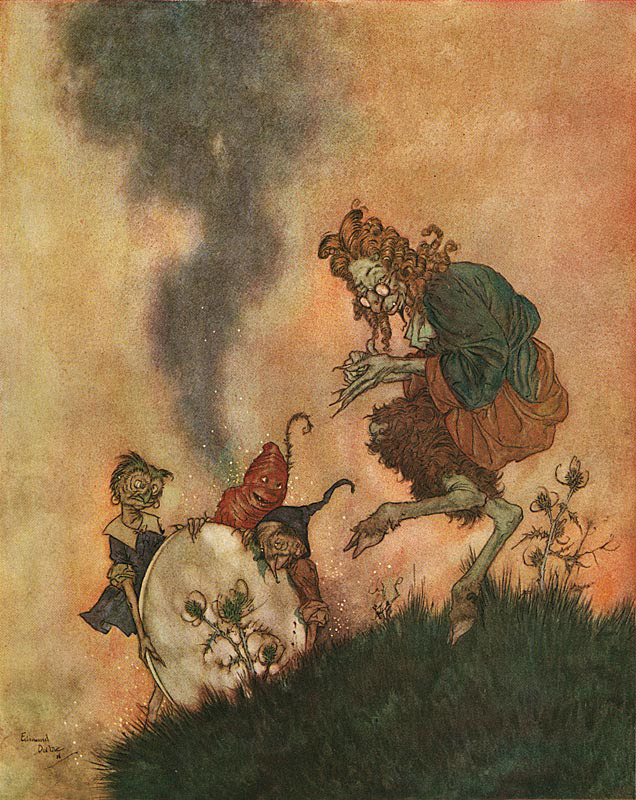 Edmund Dulac - 'One day he was in a high state of delight  because he had invented a mirror with  this peculiarity, that every good and  pretty thing reflected in it shrank  away to almost nothing.'