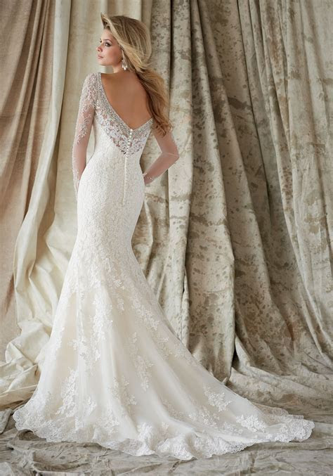 Lace on Net and Swarovski Crystals Wedding Dress   Style