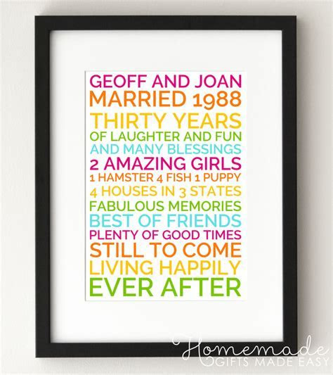 Personalized Wedding Anniversary Poster Gift