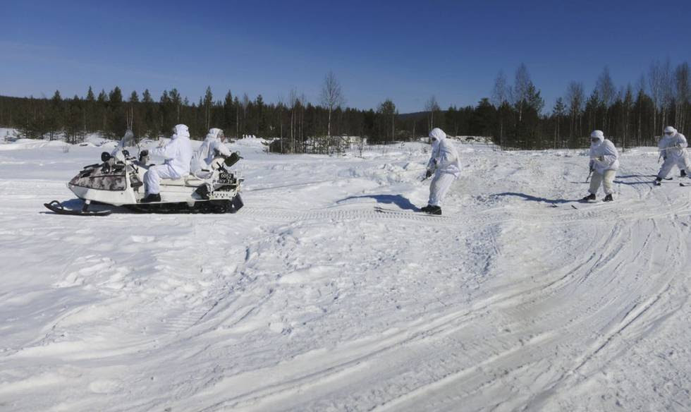 La brigada del Ártico de Rusia, durante ejercicios militares.