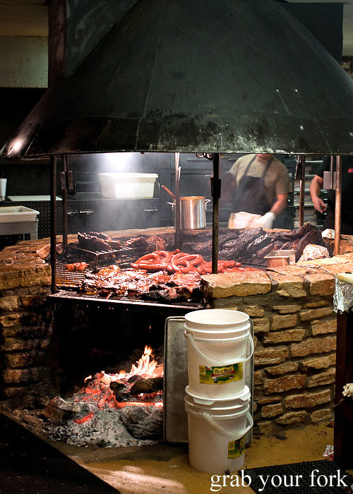 open barbecue pit at the salt lick bbq driftwood austin texas