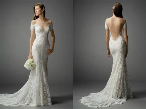 Elegant lace mermaid wedding dresses with long train