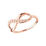 14K Rose Gold Infinity Ring One Side Lined with Genuine Diamonds 1/6 CTW