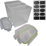 Evelots Plastic Storage-Cereal-Food-Airtight Container-20 Chalkboard Label-Set/3