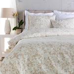 Diva at Home Cool Grey and Sandstone White Elegant Blossom Dreams Linen Decorative Twin Set 31503471
