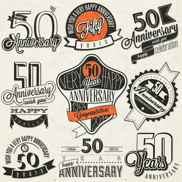 Colección de estilo vintage 50 aniversario — Vector de stock #47939805
