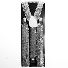 Private Island Sequin Suspenders Silver Adjustable 6888