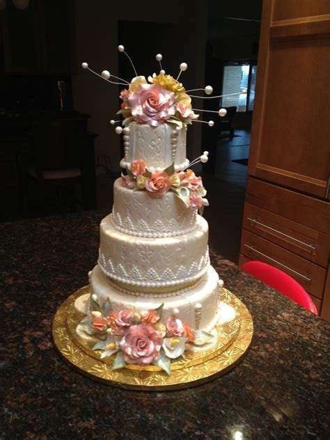 Ivory Wedding Cake With Gumpaste Flowers   CakeCentral.com