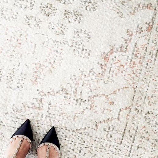 Le Fashion Blog Instagram Nude Neutral Overdyed Turkish Rug Valentino Rockstud Heels