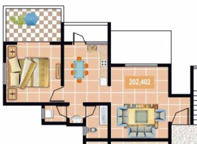 Furniture Layout of Gardenia Sus Gaon 1 BHK Flat 2nd 4th Floor 437 sq.ft. Carpet + 60 sq.ft. Terrace