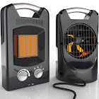 Royal 1500W Quiet Ceramic Space Heater with Adjustable Thermostat, Portable Electric Heater Fan with Overheat Protection, Oscillation, and Carrying