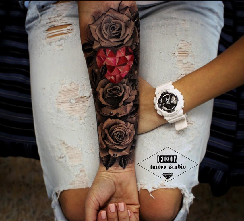 Roses Pink Crystal Heart Womans Forearm Sleeve Best Tattoo