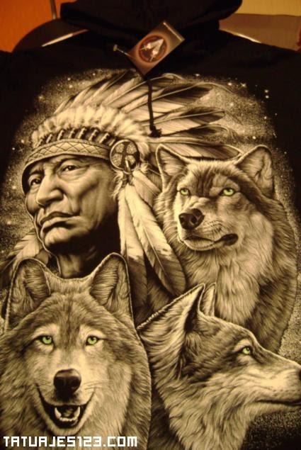 Varios Lobos Junto A Un Indio Tatuajes 123
