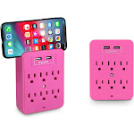 Aduro Surge Protectors with Dual USB Ports Pink Single Surge 6 Outlet & Dual USB w/ Phone Holder (SRG-TUB-SO-03)