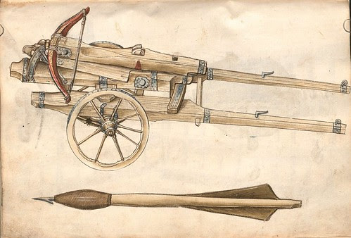 crossbow on gun carriage