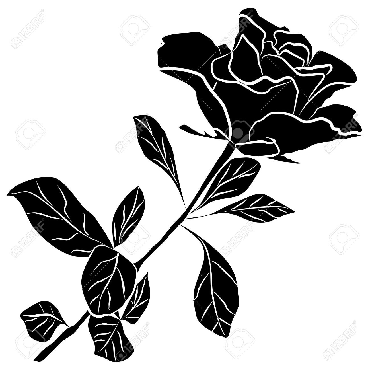 Hoontoidly single black rose clip art images - Rose noir dessin ...